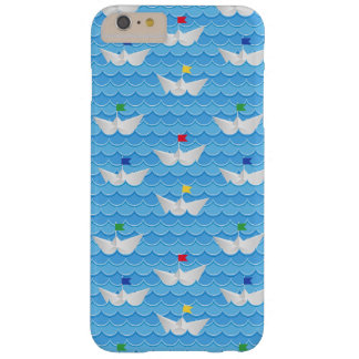 Paper Boats Sailing On Blue Pattern Barely There iPhone 6 Plus Case