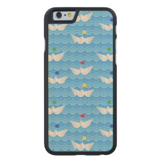 Paper Boats Sailing On Blue Pattern Carved Maple iPhone 6 Slim Case