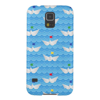 Paper Boats Sailing On Blue Pattern Cases For Galaxy S5