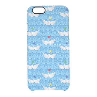 Paper Boats Sailing On Blue Pattern Clear iPhone 6/6S Case