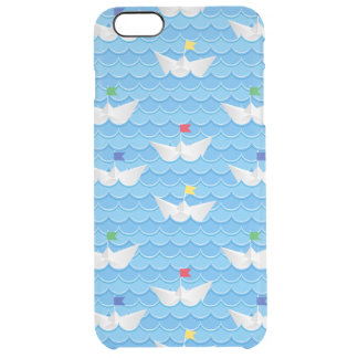 Paper Boats Sailing On Blue Pattern Clear iPhone 6 Plus Case