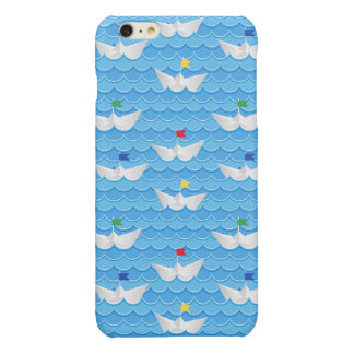 Paper Boats Sailing On Blue Pattern Glossy iPhone 6 Plus Case