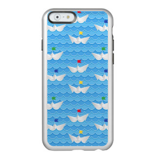 Paper Boats Sailing On Blue Pattern Incipio Feather Shine iPhone 6 Case