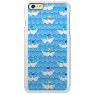 Paper Boats Sailing On Blue Pattern Incipio Feather Shine iPhone 6 Plus Case
