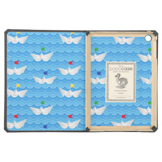 Paper Boats Sailing On Blue Pattern iPad Air Case