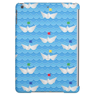 Paper Boats Sailing On Blue Pattern iPad Air Covers