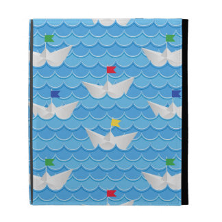 Paper Boats Sailing On Blue Pattern iPad Folio Cover