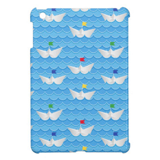 Paper Boats Sailing On Blue Pattern iPad Mini Case