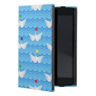 Paper Boats Sailing On Blue Pattern iPad Mini Cover