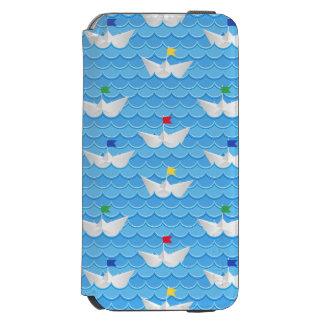 Paper Boats Sailing On Blue Pattern iPhone 6/6s Wallet Case