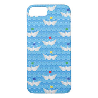 Paper Boats Sailing On Blue Pattern iPhone 8/7 Case