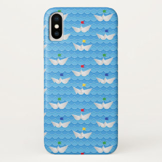 Paper Boats Sailing On Blue Pattern iPhone X Case