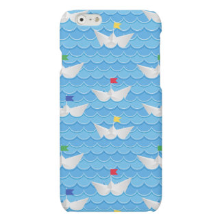 Paper Boats Sailing On Blue Pattern Matte iPhone 6 Case