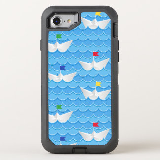 Paper Boats Sailing On Blue Pattern OtterBox Defender iPhone 8/7 Case