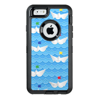 Paper Boats Sailing On Blue Pattern OtterBox Defender iPhone Case