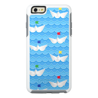 Paper Boats Sailing On Blue Pattern OtterBox iPhone 6/6s Plus Case