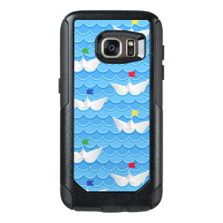 Paper Boats Sailing On Blue Pattern OtterBox Samsung Galaxy S7 Case