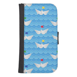 Paper Boats Sailing On Blue Pattern Samsung S4 Wallet Case