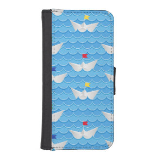 Paper Boats Sailing On Blue Pattern Wallet Phone Case For iPhone SE/5/5s