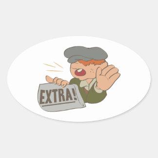 Paper Boy Oval Sticker