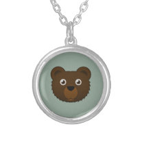 Paper Brown Bear Silver Necklace