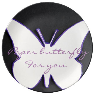 """""""PAPER BUTTERFLY FOR YOU"""" PORCELAIN PLATE"""