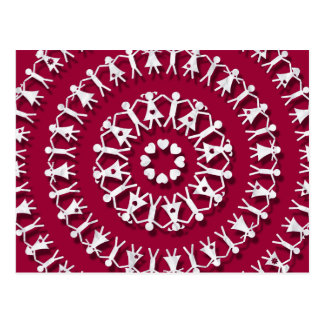 Paper Chain Dolls Raspberry Postcard