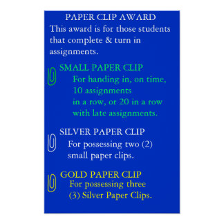 Paper Clip Award - Customized Poster