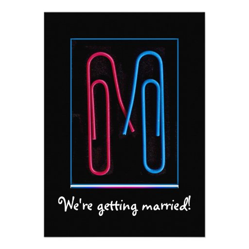 paper clips couple personalized invitations
