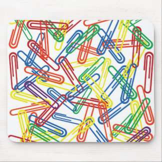 Paper clips sealmess on white background mouse pad