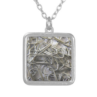 Paper clips silver plated necklace