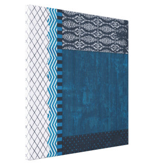 PAPER CLUSTER SCRAP-BOOKING STRIPES SOLIDS TEAL WH CANVAS PRINT