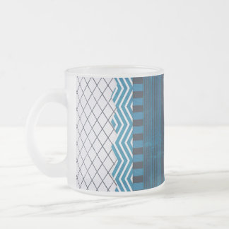 PAPER CLUSTER SCRAP-BOOKING STRIPES SOLIDS TEAL WH FROSTED GLASS COFFEE MUG