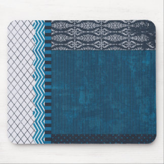 PAPER CLUSTER SCRAP-BOOKING STRIPES SOLIDS TEAL WH MOUSE PAD