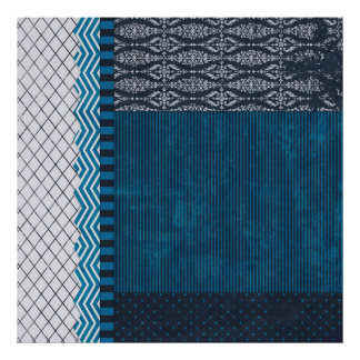 PAPER CLUSTER SCRAP-BOOKING STRIPES SOLIDS TEAL WH POSTER