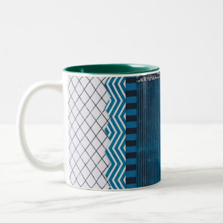 PAPER CLUSTER SCRAP-BOOKING STRIPES SOLIDS TEAL WH Two-Tone COFFEE MUG