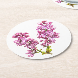 Paper Coaster - Lilac Blossoms Round Paper Coaster
