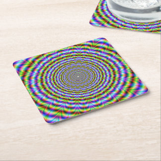 Paper Coaster  Psychedelic Neon Ripples Square Paper Coaster