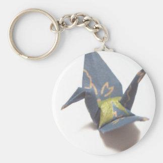 Paper Crane Basic Round Button Keychain