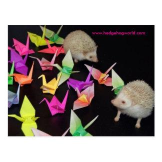 paper crane hedgehog postcard