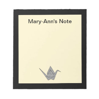 Paper crane with black hearts and flowers pattern note pads