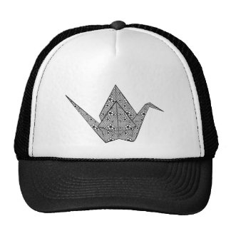 Paper crane with black hearts and flowers pattern trucker hat