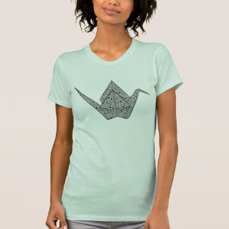 Paper crane with black hearts and flowers pattern tshirts