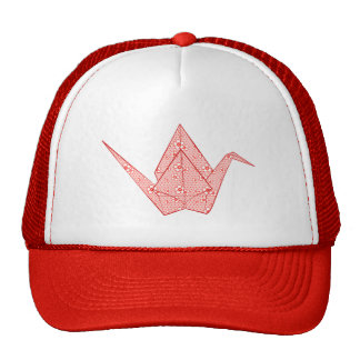 Paper crane with red hearts and flower pattern trucker hat