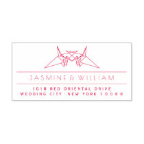 Paper Cranes Asian Wedding Self Inking Stamp