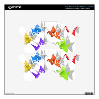 Paper cranes decal for PS3 controller