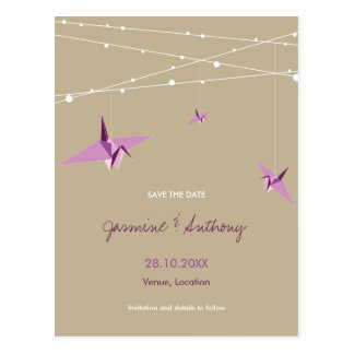 Paper Cranes Fairy Lights Wedding Save The Date Postcard