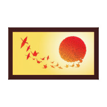 Paper cranes forming into the rising sun. canvas print