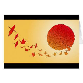Paper cranes forming into the rising sun. card
