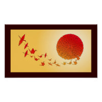 Paper cranes forming into the rising sun. poster